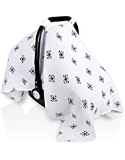 Muslin Baby Carseat Canopy, Elstey Infant Car Seat Cover for Boys Girls, Newborn Carrier Covers Stroller Canopies Shower Gifts, Lightweight Breathable Fit Summer Spring, Large Size 47.2 x 35.4 inch