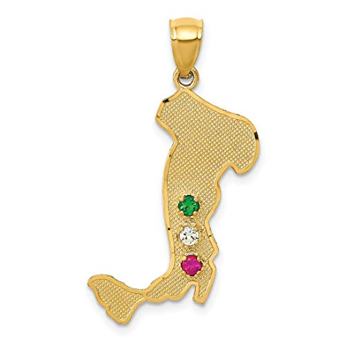 14K Yellow Gold Italy Charm Pendant Jewelry ()