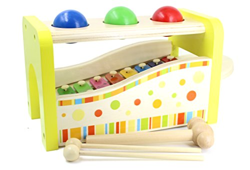 Aile Wooden Pound & Tap Bench with Slide Out Xylophone Toy for Toddlers by Aile