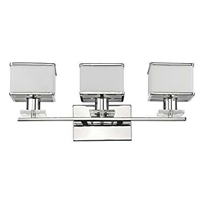 Chloe Lighting CH820039CM24-BL3 Contemporary 3 Light Chrome Finish White Opal Glass Bath Vanity Wall Fixture 24 Inch Wide