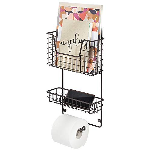 mDesign Wall Mount Metal Toilet Tissue Paper Roll Holder and Dispenser - 3 Tier Bathroom Storage Organizer with Magazine Rack Basket and Accessory Tray - Bronze (Magazine Rack Bathroom Wall)