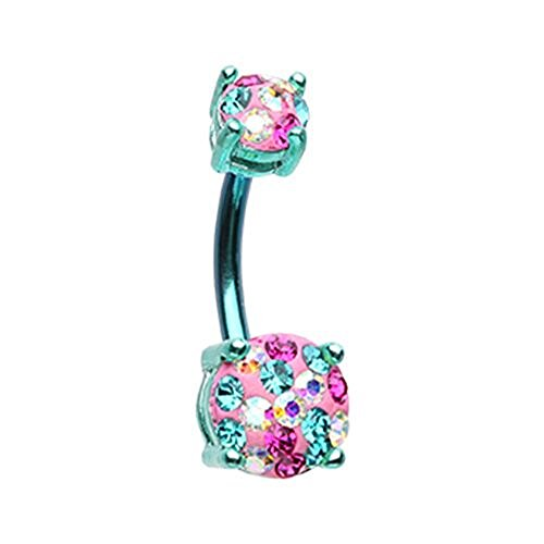 Color Multi Sprinkle Dot Gem Prong Sparkle WildKlass Belly Button Ring (Teal/Miami) ()