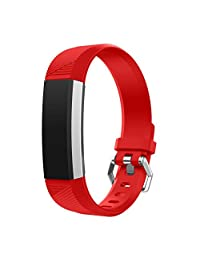 For Fitbit Alta HR Smart Watch, Kingfansion Replacement Wrist Band Silicon Strap Clasp (Red)