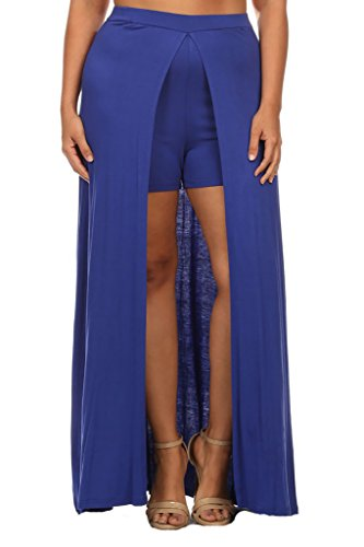 Plus Size Cape Shorts with Long Cape Full Skirt - Royal Blue - 2XL