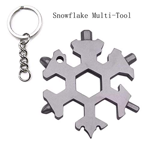 Amanely 18-in-1 Stainless Snowflake Multi-tool, Outdoor Portable Keychain screwdriver -Bottle opener (Amenitee 15 In 1 Stainless Multi Tool)