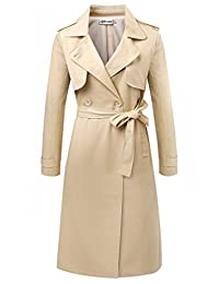 Aphratti Women's Elegant Long Double-Breasted Trench Coat