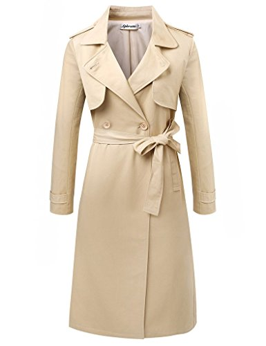 Aphratti Women's Elegant Long Double-Breasted Trench Coat Medium Light Tan