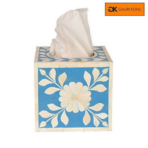 GAURI KOHLI Beautiful Hand Crafted Bone Inlay Decorative Tissue Box Cover in Ocean Blue Color (Large Size | 6