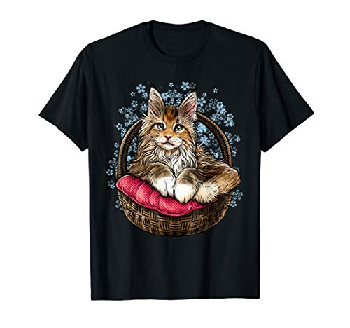Art Maine Cat Coon - Illustration Art of Maine Coon for Womens Mens  T-Shirt