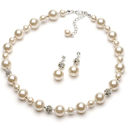 Ivory Pearl Necklace (USABride Ivory Simulated Pearl & Rhinestone Jewelry Silver Plated Necklace and Earrings Set 1360)