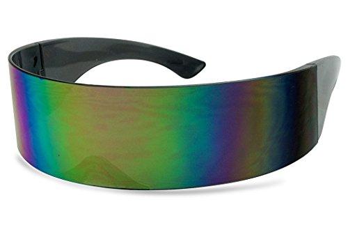 SunglassUP - One Piece Futuristic Wrap Around Novelty Cyclops Robocop Sunglasses (Purple ()