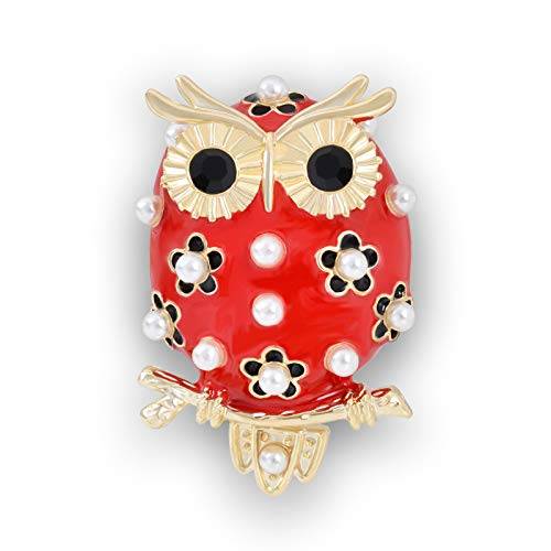 OBONNIE Lovely Pearl Red Enamel Crystal Owl Bird Gold Animal Brooch Pin Lapel Pin for Women Kids