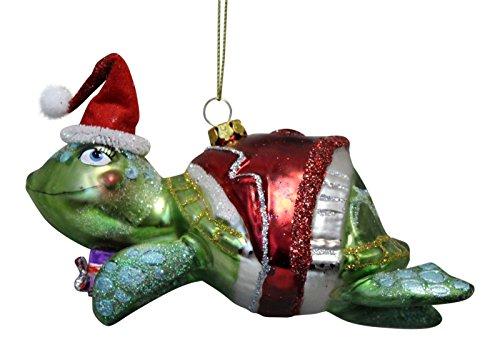 Santa Glass Hat Ornament (December Diamonds Playful Sea Turtle in Red Santa Hat Glass Ornament)