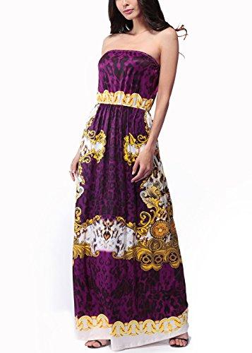 Vestido largo sin tirantes de la flor de Boho de la impresión floral de las mujeres de la playa C0039-Rojo