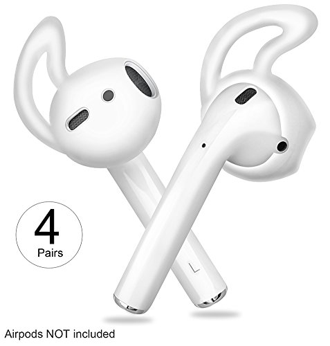Attachment Cover - Covers and Hooks with Storage Box for Apple Airpods EarPods Earphones Earbuds 4 Pair Clear by Lunies