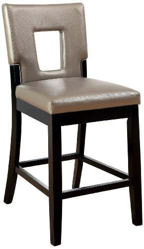 (Furniture of America Helena Leatherette Keyhole Counter Height Chair, Pewter, Set of 2)