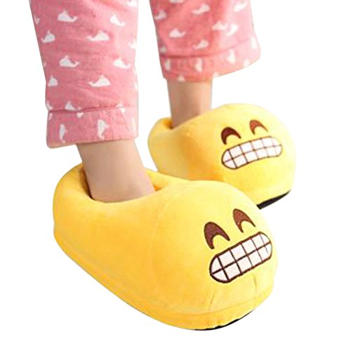 9659ca6488271 Holidayli Unisex Boys Girls Warm Soft Cozy Plush Emoji Slippers ...