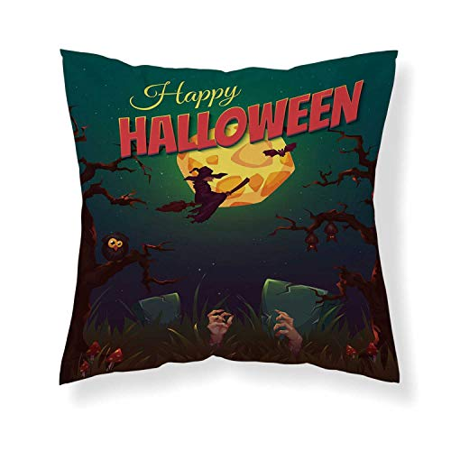 YOLIYANA Halloween Comfortable Throw Pillow,Happy Halloween Poster Design Witch on Broom Mushroom Dead Resurgence Vintage Decorative for Home Office -