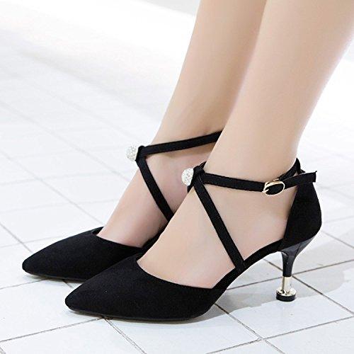 ZHUDJ Zapatos De Tacones Altos Tacones Altos con Una Multa Todo Coincide con Hebilla En Verano,Negro,38 Thirty-eight|black