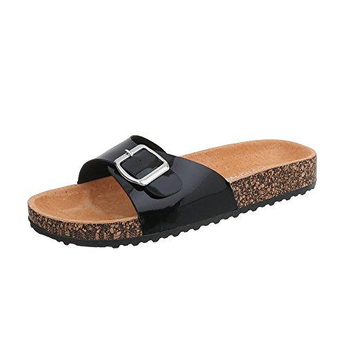 KU Schwarz amp; Damenschuhe Sandaletten Pantoletten 6 Design Ital Sandalen TwU0nx