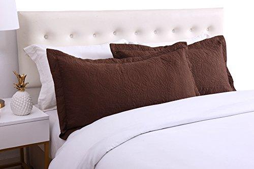 MarCielo 2-Piece Embroidered Pillow Shams, Decorative Microfiber Pillow Shams Set Standard Size Brown