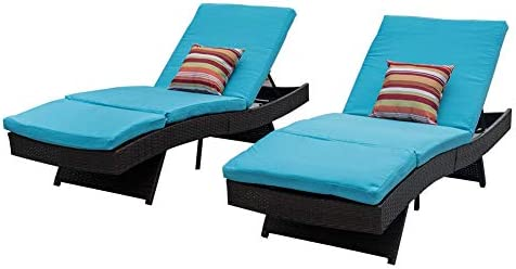 Sundale Outdoor 2PCS Deluxe Patio Adjustable Resin Wicker Chaise Lounge Chair Set with Cushions and 2 Throw Pillows Blue