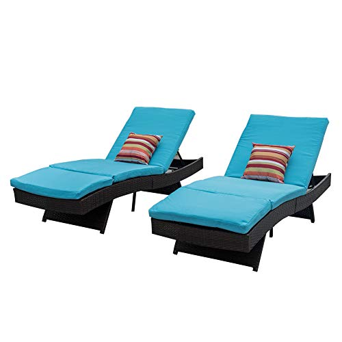 Sundale Outdoor 2PCS Deluxe Patio Adjustable Resin Wicker Chaise Lounge Chair Set with Cushions and 2 Throw Pillows (Blue)
