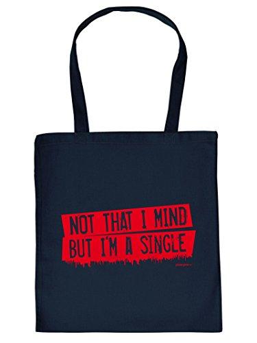 Coole Single Sprüche Einkaufstasche : Not that I mind but .. -- Goodman Design ® Baumwolltasche Farbe: navy-blau