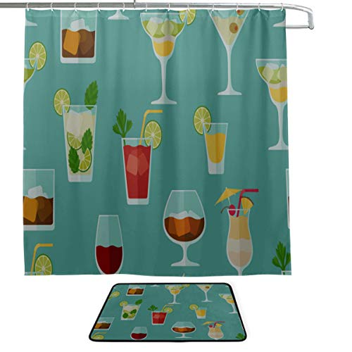 Cocktail Color Design Creative Romance Single-Sided Printing Shower Curtain and Non-Slip Bath Mat Rug Floor Mat Combination Set with 12 Hooks for Bathroom Decor and Daily Use