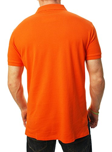 Ralph Lauren Mens Custom-Fit Mesh Polo Shirt Pony Logo (Medium, BBall Orange ...