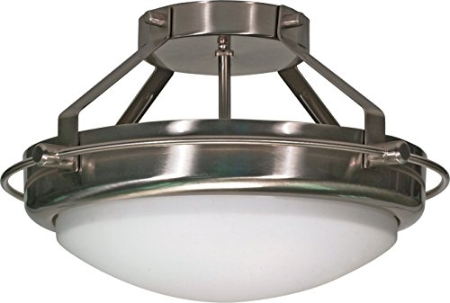Nuvo Lighting 60/609 Polaris - Two Light Semi - Flush, Brushed Nickel Finish with Opal White Shade ()