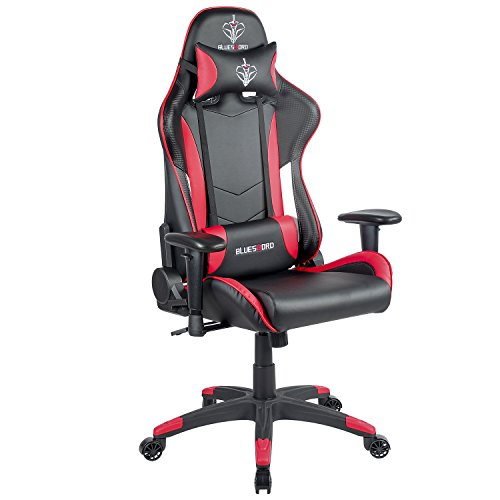 BLUE SWORD Carbon Fiber Gaming Chair Large Size Racing Style High-back Adjustment Office Chair With Lumbar Support and Headrest White&Red, BS004 by BLUE SWORD