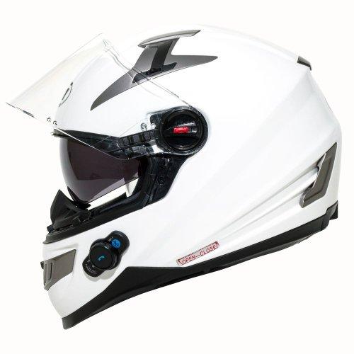 BILT Techno Bluetooth Full-Face Motorcycle Helmet - MD, White