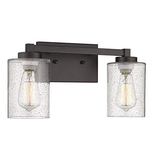 - Bathroom Vanity Light Beionxii 2-Light Antique Bath Vanity Wall Light Fixtures, Oil Rubbed Bronze Finish with Clear Seeded Glass Shade