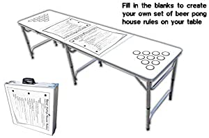 8 foot professional beer pong table w cup holes house rules graphic pong games - Professional beer pong table ...