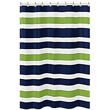 Crystal Emotion Navy Blue Lime Green And White Kids Bathroom Shower Curtain