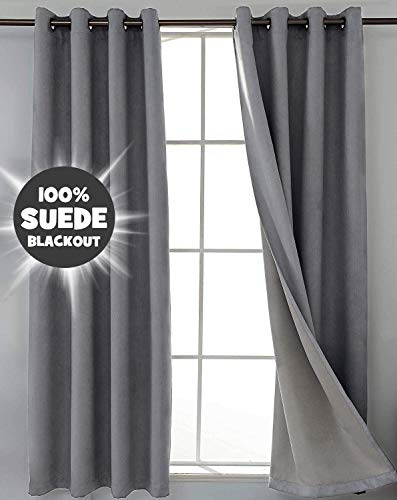 SHIELD CREATOR 2 Panels Grey 100% Blackout Curtains Full Light Blocking Suede Curtain Triple Weave Grommet 50X84 Inch Long Thermal Insulated Window Drapes for Bedroom/Nursery/Patio Door/Living Room
