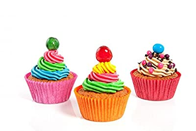 Three Colorful Creamed Cupcakes Wall Decal Sticker Set Wallmonkeys Individual Peel and Stick Graphics on a Sticker Sheet WM94308