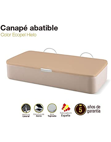 Canapé Abatible Tapizado Apertura Lateral Tapa 3D Ecopel Hielo Envio y montaje gratis (Disponible en