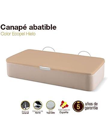 Canapé Abatible Tapizado Apertura Lateral Tapa 3D Ecopel Hielo 90x190cm Envio y montaje gratis
