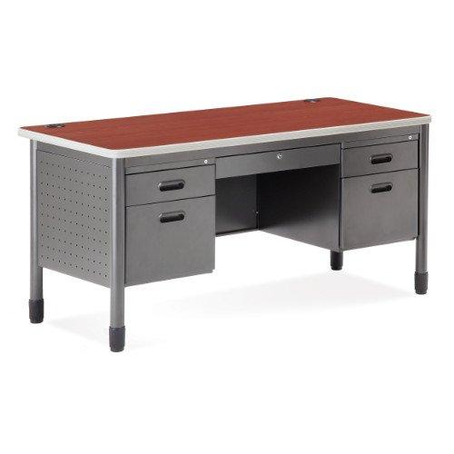 OFM Mesa Series 5-Drawer Steel Desk with Laminate Top - Durable Locking Utility Desk, Cherry, 30