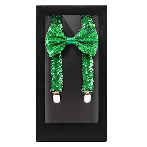 (Y-Back Suspender and Bow Tie Matching Set, Adjustable, Clip Design  Great Gift   (Sequined Green))