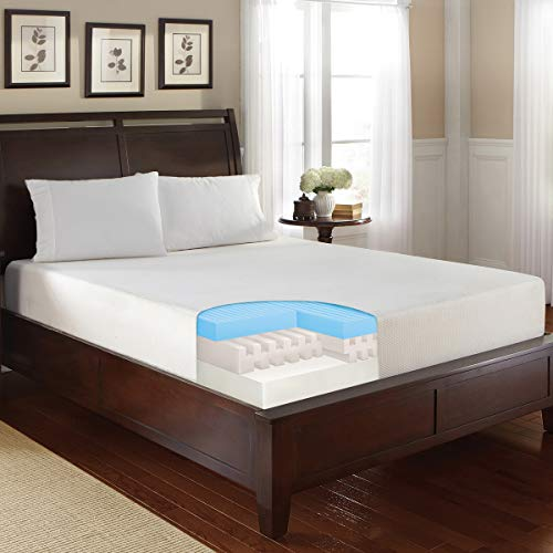 SHARPER IMAGE 10 Inch Triple Layer Memory Foam Mattress with Cooling Gel Top, Internal Air Channels, and High-Density Base - Ultra Comfortable Bed for Restful Sleep - Queen