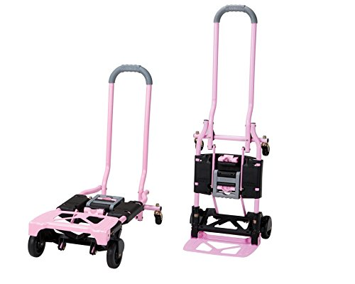 Cosco Shifter 300-Pound Capacity Multi-Position Folding Hand Truck and Cart, Pink by Cosco