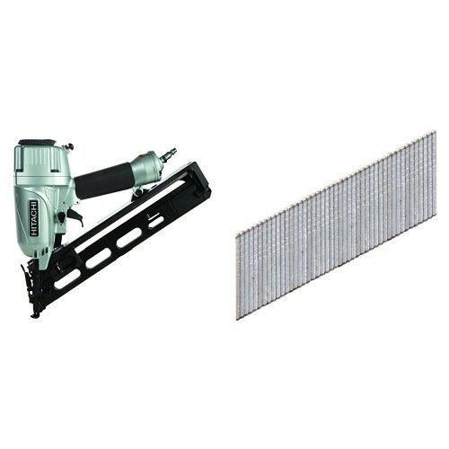 Hitachi NT65MA4 1-1/4 Inch to 2-1/2 Inch 15-Gauge Angled Finish Nailer with Air Duster and 2-1/2 in. x 15-Gauge Angled Finish Nails (3,000-Pack)