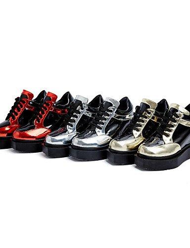 Femme Arrondi Red Décontracté Confort Chaussures creepers 5 plateforme rouge Argent Eu38 Habillé Xzz 5 Uk5 us7 bottes Or similicuir Cn38 extérieure Bout A5fZq
