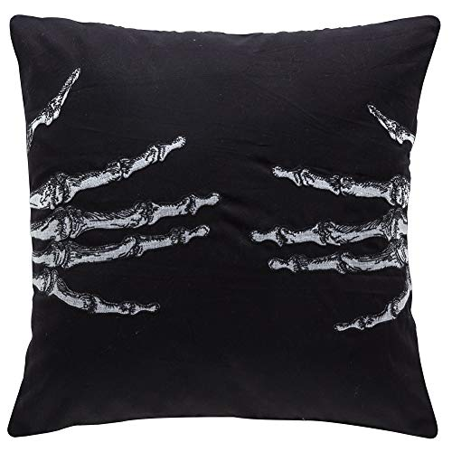 AENEY Halloween Skull Wicked Hug Throw Pillow Cover 18 x 18 for Couch Fall Decorations Farmhouse Horrible Evil Home Decor Black Decorative Pillowcase Square Soft Velvet Cushion Case for Sofa