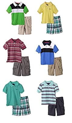 Sahara Club Boys and Toddlers Striped Short Sleeve Tee and Shorts Set - Sizes 2-7