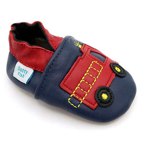 Dotty Fish Soft Leather Baby Shoes. Navy and Red Fire Engine. 2-3 Years