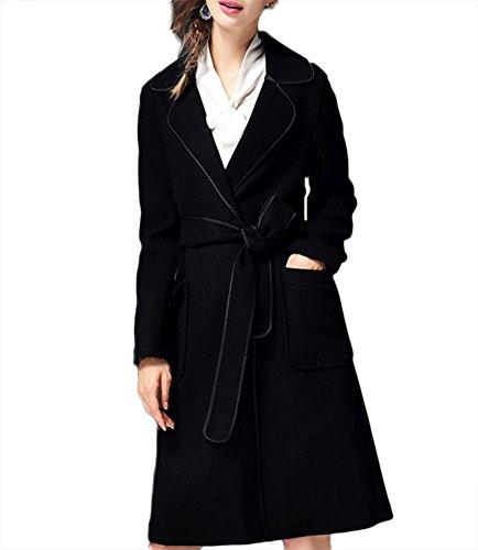 Chaqueta de cachemira de doble cara de otoño e invierno de las mujeres Outwear ropa de lana rompevientos con cordones con cuello de traje de pretina Black